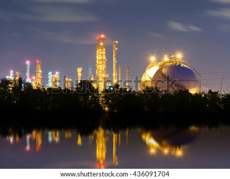 Natural Gas storage tank in Oil refinery factory - stock photo