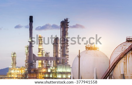 Natural Gas storage tanks in the refinery factory , petroleum , petrochemical plant - stock photo