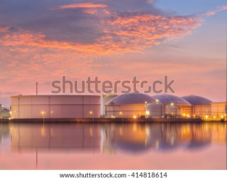 Natural Gas storage tanks , Oil tank , LPG , Petrochemical plant , Petroleum - stock photo