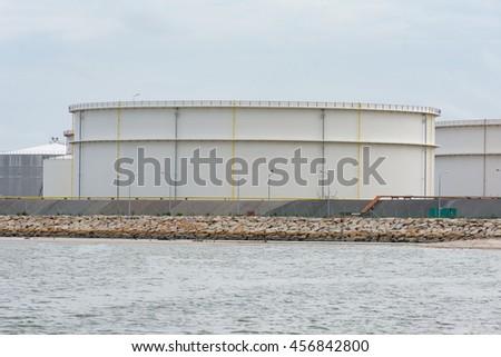 Natural Gas storage tanks , Oil tank , LPG , Petrochemical plant , Petroleum - stock photo