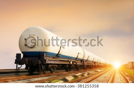 Natural gas transport by rail - stock photo