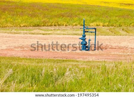 Natural gas wellhead in a meadow of green grassland field agricultural farmland in Alberta, Canada - stock photo