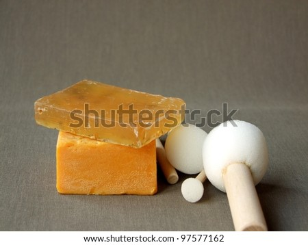 natural ginger soap with bath sponges - stock photo