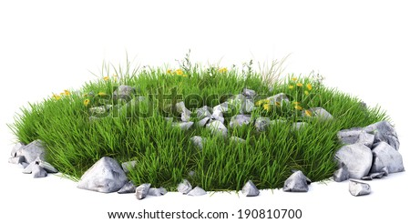 Natural grass arena isolated on white background - stock photo