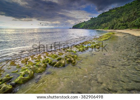Natural green moss at beach rock with cloudy sunlight at Lombok beach, Indonesia - stock photo