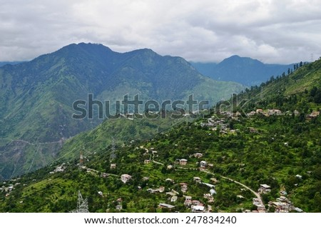 Natural Green Scenery background in Himachal Pradesh, India - stock photo