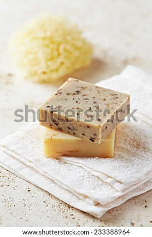 Natural Green Tea and Lemon Grass Soap on a Towel