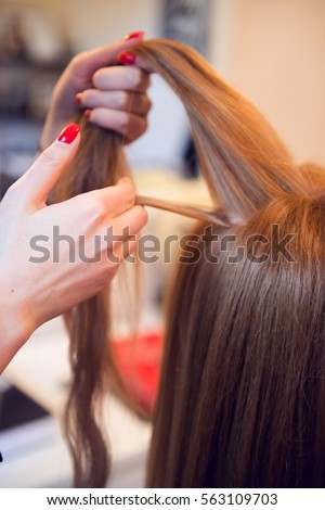 Hair extensions stock images royalty free images vectors natural hair extensions at salon closeup hands in hair pmusecretfo Choice Image