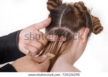 Woman before after hair loss treatment stock photo 624234848 natural hair extensions at salon closeup hands in hair pmusecretfo Image collections