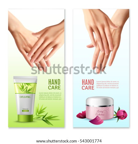 Natural hand creams with plants and rose buds extracts 2 vertical realistic banners with text isolated  illustration