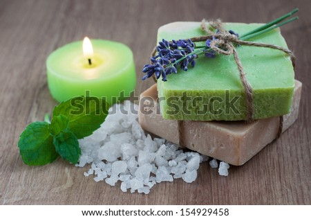 Natural handmade Herbal Soap with lavender and sea salt