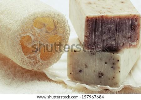 Natural handmade soap and organic sponge  - stock photo