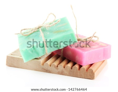 Natural handmade soap, isolated on white - stock photo