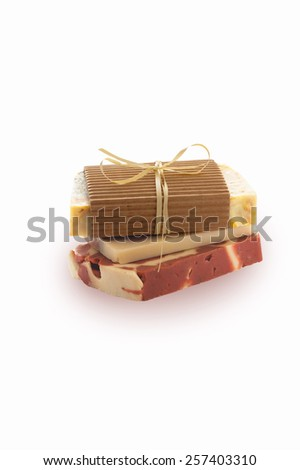 natural handmade soap on a white background - stock photo