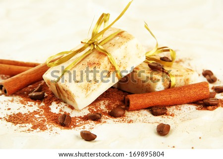 Natural handmade soap, on beige background - stock photo