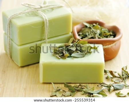 Natural handmade soap. Spa - stock photo