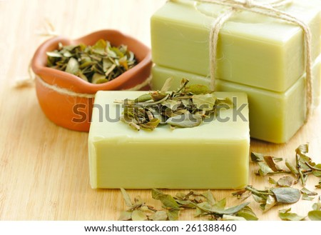 Natural handmade soap. Spa - stock photo
