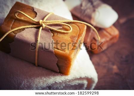 Natural handmade soaps - stock photo