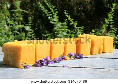 Natural handmade soaps made in manufacture. Spa products. - stock photo