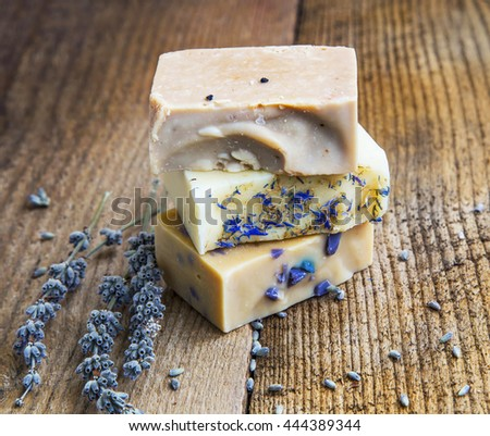 Natural handmade soaps with honey, lavender and chamomile.Natural beauty treatment
