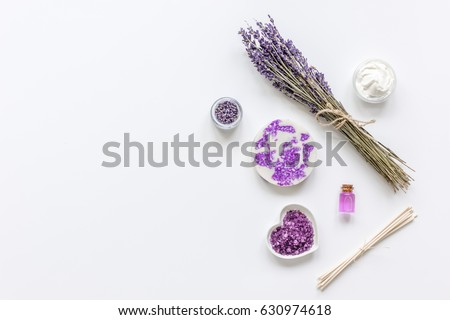 natural herb cosmetic with lavender flatlay on white background top view mockup