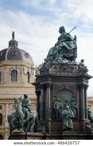 Natural History Museum and Maria Theresia monument. Vienna. Austria. The monument was built by Kaspar von Zumbusch in the year 1888.