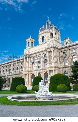 Natural History Museum, Vienna. Fountain with sculptures on foreground - stock photo