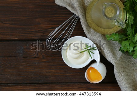 Natural homemade mayonnaise with egg yolk and vegetable oil - stock photo