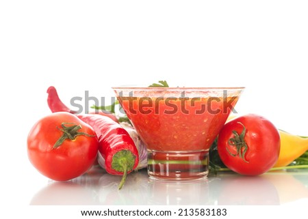 natural homemade sauce of tomatoes, peppers and vegetables