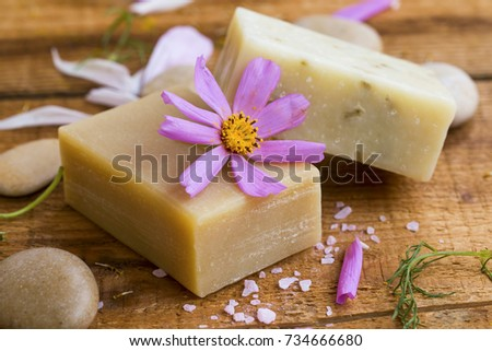 Natural homemade soap with flower extracts and essential oil, home-spa therapy