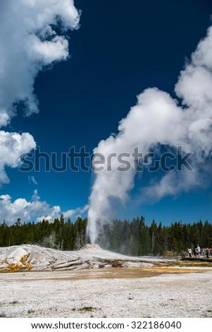 Natural hot spring, Yellowstone National Park - stock photo