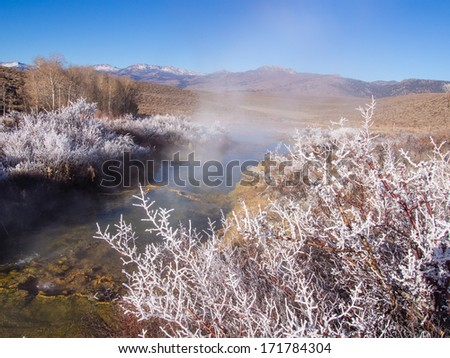 Natural hot springs in Mono County, California along US395 - stock photo