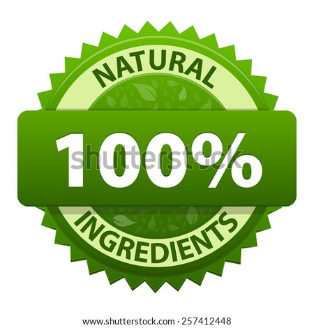 Natural Ingredients 100 percent green label sticker icon isolated on white background. Symbol of healthy food. illustration - stock photo