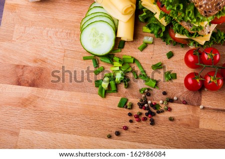 Natural ingredients, traditional sandwich - stock photo