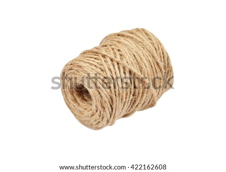 Natural jute rope, isolated on white background - stock photo