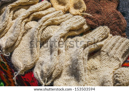 Natural knitted socks.