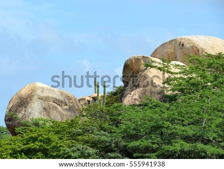 natural landscape at the Casibari Rock Formations in Aruba