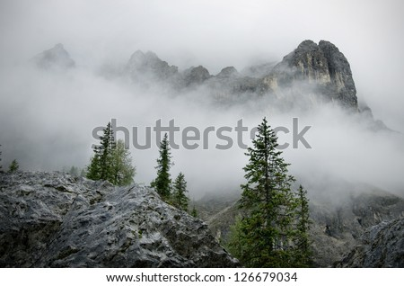 Natural landscape in the Alps, Latemar, Italy - stock photo