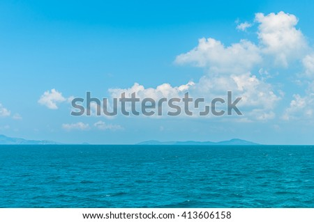 Natural landscape. Island,  blue sky and sea - stock photo