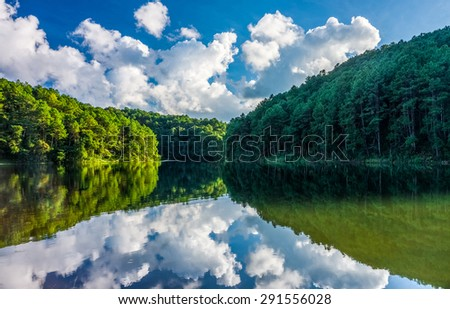 Natural landscape view of Huai Makhuea Som reservoir with forest mountain in Mae Hong Son province, Northern Thailand - stock photo