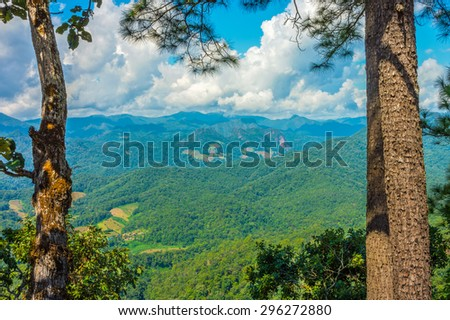Natural landscape view of mountain range in Mae Hong Son province, Northern Thailand - stock photo