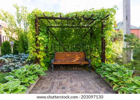 Natural landscaping in home garden - stock photo