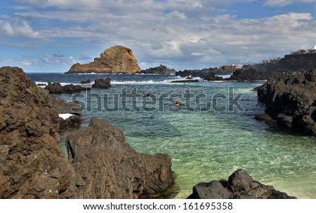 Natural lava bath Piscinas Naturais in Porto Moniz (Madeira, Portugal) - stock photo