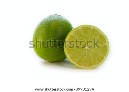 natural lime, citrus fruit and isolated