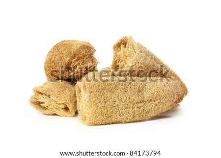 Natural loofah sponge on white background