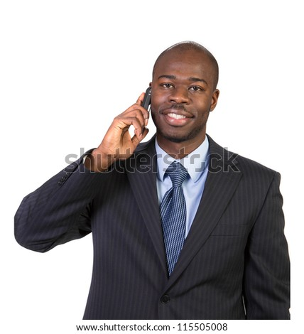 Natural Looking Smiling Young African American Male Businessman Calling on Cellphone on Isolated Background - stock photo