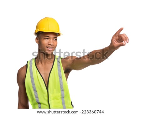 Natural Looking Worried Young African American Construction Worker Gesture Directing Traffic on Isolated Background