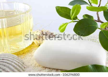Natural luxury spa soap - stock photo