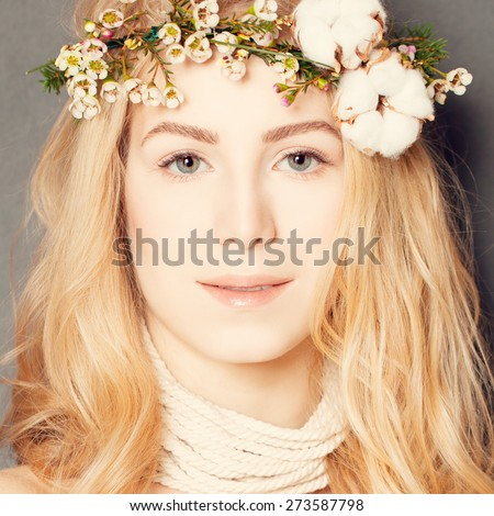 Natural make-up and Curly Hairstyle. Female Face closeup - stock photo
