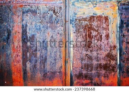 natural metallic background with rust and old paint - stock photo